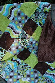 Brown Green Aqua Grey Cotton Fabric Baby Quilt by craftinjenn, $56.00