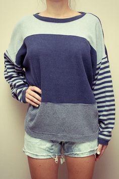 vintage blue striped sweater $18.50