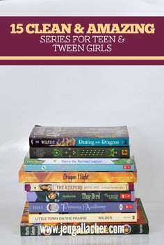 A list of book recommendations for tween and early teen girls from Jen Gallacher. Book Series For Girls, Books For Tween Girls, Books For Tweens, Classic Books For Teens, Best Books For Teens, Best Poetry Books, Good Books, Amazing Books, Clean Book