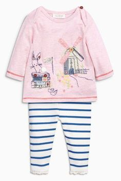 a265c0441ef5 Buy Pink Embroidered Detail Top and Legging Set (0mths-2yrs) from the Next. Cute  Baby ...