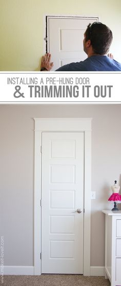 DIY: Installing a Pre-Hung Door (the EASY way)....and Trimming Out a Door (aka: adding molding)| via Make It and Love It