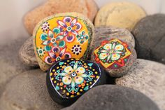 Floral Trio, Handcrafted, Handmade, Painted Stones, Rock, Sea Stone Art, Original Design by SkippNStonesByDLB on Etsy
