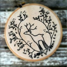 DIY INSTANT DOWNLOAD Hand Embroidery Pattern . Embroidery Hoop Art . Deer . diy gift Woodland Forest Critters . Nature . Cerf