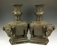 Chinese Pair of Bronze Elephant Vases : Lot 4077