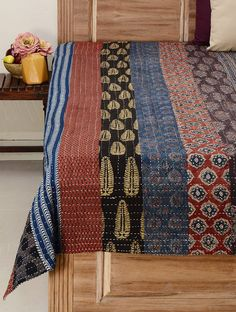 Multi-Color Cotton Kantha Embroidered Reversible Double Bed Cover (Cotton Filled) x Ralph Lauren Home Living Room, Handmade Bed Sheets, Double Bed Covers, Double Bed Sheets, Jute Fabric, Creative Embroidery, Sewing Pillows, Printed Cushions, Indian Home Decor
