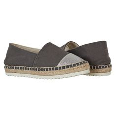 6b4c073df9c Charcoal Canvas and Silver Glitter toe Espadrilles
