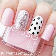 And polka dot nails pink nails, girls nails, pink manicure, blue nail, ma. Really Cute Nails, Love Nails, Cute Pink Nails, Fancy Nails, Trendy Nails, Chic Nails, Milky Nails, Gel Nails, Nail Polish