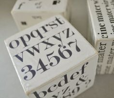 wooden blocks shabby chic with typography #crafts #diy #wood