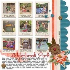 summer play date digital scrapbook layout fun park friends family scrap book page
