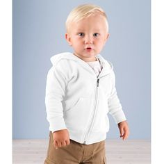 3446 Rabbit Skins Infant Zipper Hooded Sweatshirt - White - 3446 Rabbit Skins Infant Zipper Hooded Sweatshirt Only the best for the little ones. Coordinate: Toddler 3346 % polyester fleece Jersey-lined double-needle hem hood Pouch pockets. Baby Boy Hairstyles, Baby Boy Haircuts, Toddler Boy Fashion, Toddler Boys, Baby Girls, Toddler Haircuts, Cute Toddler Boy Haircuts, White Hoodie, Baby Outfits