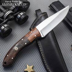 ALONZO KNIVES USA CUSTOM HANDMADE TACTICAL BUSHCRAFT 1095 KNIFE ROSE WOOD 746 #AlonzoKnives