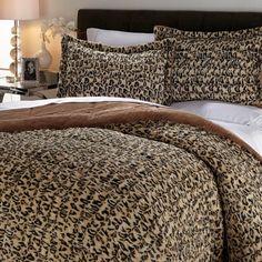 Concierge Collection Long Faux Fur Comforter Set Leopard Full Queen New #ConciergeCollection