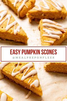 Pumpkin Scones With Maple Glaze Gluten Free Recipes For Lunch, Gluten Free Desserts, Real Food Recipes, Snack Recipes, Pumpkin Scones, Pumpkin Puree, Pumpkin Spice, Unsweetened Coconut Milk, Maple Glaze