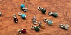 Add a Birthstone Charm- Silver Wire Wrap Birthstone Beads- Family Birthstone Jewelry for Mom