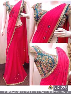 Online Ethnic wear shopping for Indian women. Shopping of sarees, salwar suits & Lehengas. Free Delivery in India. Chiffon Saree Party Wear, Fancy Sarees Party Wear, Saree Designs Party Wear, Saree Blouse Designs, Party Sarees, Party Wear Indian Dresses, Kurta Designs, Dress Designs, Blouse Patterns