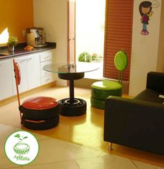 Cafe tire table and chairs can be painted any color and moved around easily.