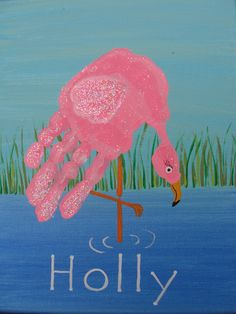Fingertips and handprints Flamingo Handprint much better than those turkey handprints Irish Wedding