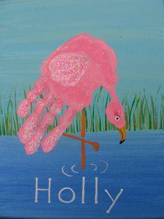Flamingo Handprint much better than those turkey handprints