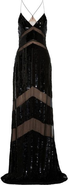 Jason Wu Black Sequined Silkchiffon Gown