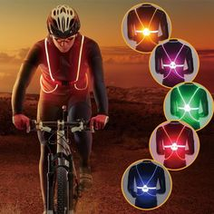 Bicycle Light Cycling Unisex Outdoor Cycling Safety Vest Bike Ribbon Bicycle Light Reflecing Elastic Harness For Night Riding Running Jogging