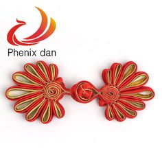 Wholesale 5 Pairs Red Gold Chinese Trees Knots Ribbon Frog Closure Buttons