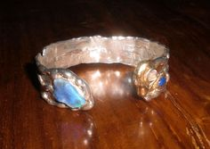 bracelet sterling silver + gold 18kt + opal + moonstone + lapis handmade by AtelierRitz