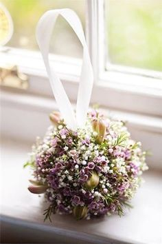 Pomander Wedding Bouquet Featuring White Gypsophila & Lavender Waxflower