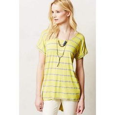 Anthropologie Tail Stripe Tee Yellow and gray striped pullover tee by Pure + Good. Soft fabric with a unique high low backing. Anthropologie Tops Tees - Short Sleeve