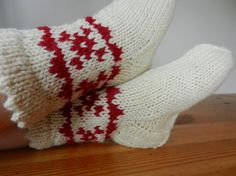 Hand knitted warm wool socks with ornaments / white with red / children winter accessories. $10.00, via Etsy.