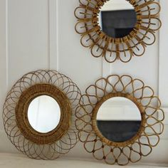 paint beachy colors and decorate with shells #coastal decor rattan mirrors