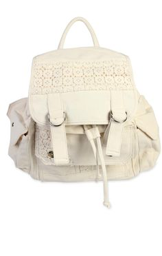 canvas #backpack with #crochet detail   $27.25