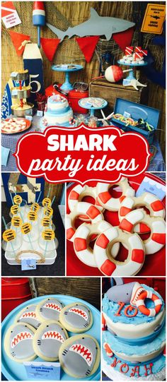 How cool is this shark themed party?! Perfect for summer! See more party ideas at CatchMyParty.com!