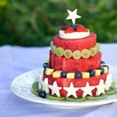 Fresh Fruit and Watermelon Cake - what a great healthier alternative to a real cake! Looks delicious!