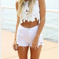 << White Crochet Lace Trim High Waist Shorts >> My favorite shorts everrrrrrrr!  So adorable, so stylish, can be worn so many ways!  Fit true to size and excellent quality.  Available in 36 (size 5), 39 (size 7), and 40 (size 9) Twang Boutique  Shorts Jean Shorts