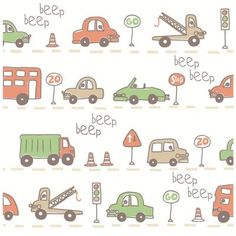 Brewster 56.4 sq. ft. Taupe Beep Beep Cars Wallpaper-2679-002141 - The Home Depot