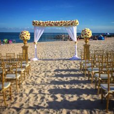 """Perfect day for a vow renewal. #weddings #arch #ceremony #vowrenewal #flowers #florals #flowerarrangements #fantasydesigners #bellaquinces #perfectday…"""