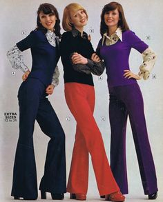 70s Flares for Women. And the short sleeve top over long sleeve shirt was all the rage!