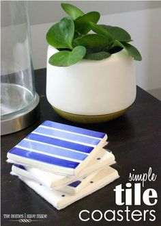 Learn how to make these simple DIY tile coasters. They're sure to a pop of color to any room and protect your tables from drinks!