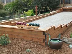 bocce court | Bocce Court.       Not hose for watering down  and rack for balls Backyard Games, Lawn Games, Backyard Projects, Backyard Sports, Backyard Ideas, Wood Projects, Outdoor Living Rooms, Yard Design, Lofts