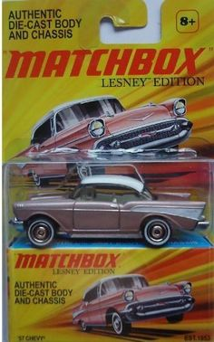 """Matchbox Lesney Edition """"57 Chevy 1:64th Scale Die-Cast Collectible Car by MATTEL. $8.99. 1:64 Scale Die Cast.. Ages 8 and up.. Lesney Edition. Athentic Die-Cast Body and Chassis."""