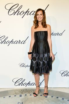 At the 65th Annual Cannes Film Festival - Roberta Armani wore a Giorgio Armani A-line cocktail dress, bustier model, in lasered and printed silk satin for the Chopard Event.