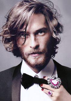 Hair + bow tie + beard