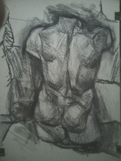 Torso study,charcoal and acrylics on paper 50x70