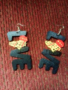 For the love of Africa Hand-painted Wood Earrings on Etsy, $15.00