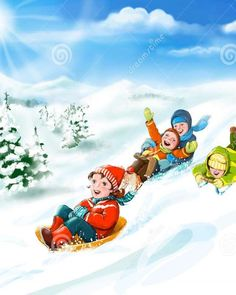 Kids with sledges, snow - happy winter vacation stock illustration Locked Wallpaper, Computer Wallpaper, Friend Pictures, Funny Pictures, Short Funny Stories, Sleds For Kids, Kids Computer, Friends Picture Frame, Animation