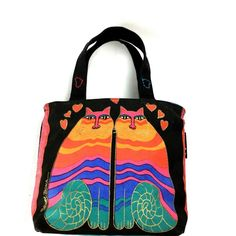 f598571828ab4 Purses and Totes · Laurel Burch Feline Friend Two Cat Hearts Black Canvas  Hand Bag Purse  LaurelBurch Laurel Burch
