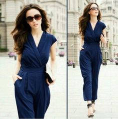 Wisedeal 1pc Blue New Chic Fashion V-Neck Sexy Women Ladies' Cocktail Evening Jumpsuit Waist Pants pajamas onesie romper  Price: $39.99