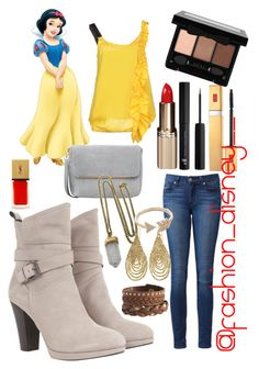 """Snow White"" by sophlope ❤ liked on Polyvore featuring Disney, Paige Denim, Pinko, George J. Love, Lacey Ryan, Pieces, Ellen Crawford Designs, EF Collection, Elizabeth Arden and NYX"
