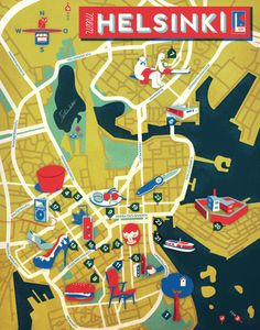 Jon Frickey, Map of Helsinki. Helsinki, Travel Themes, Travel Posters, Finland Travel, Finland Map, Baltic Cruise, Country Maps, Travel Icon, City Illustration