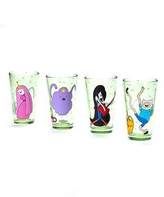 This Green Adventure Time Cast Glass Set is perfect! #zulilyfinds